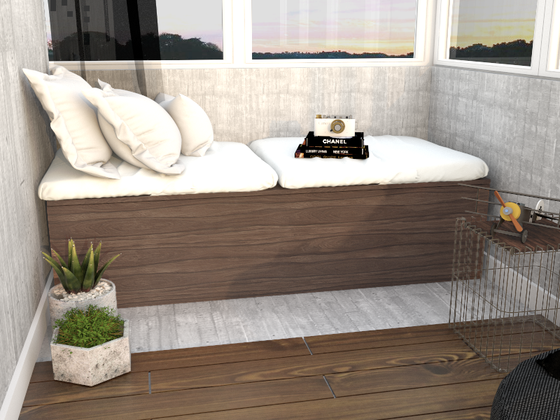 Banco Bau de madeira na varanda feito sob medida em marcenaria online