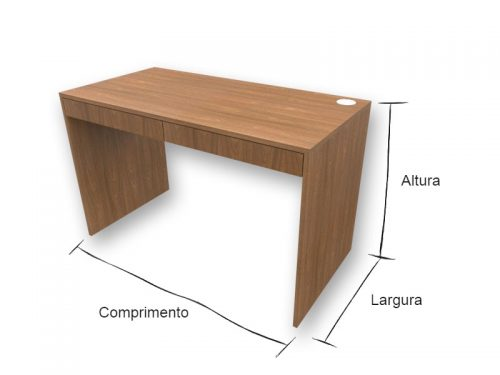 Mesa Escrivaninha com Gavetas Louro Freijó - Marcena